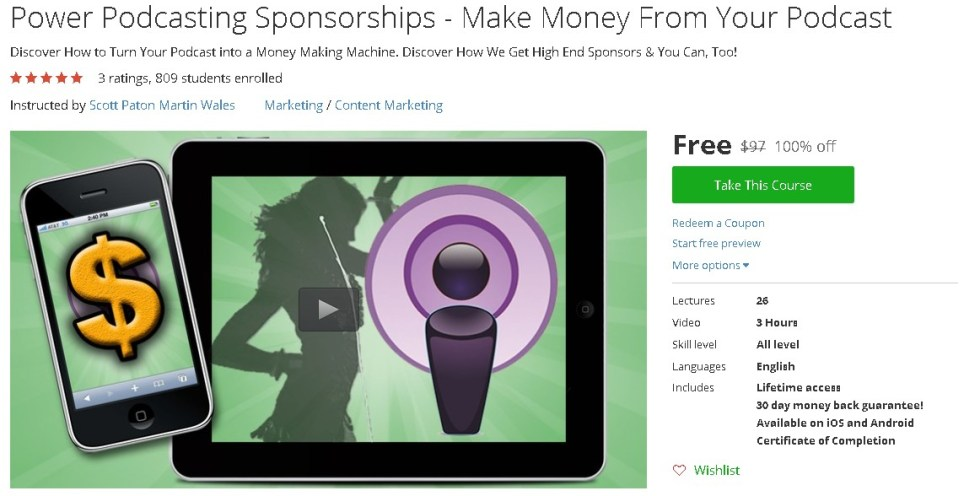 Free Udemy Course on Power Podcasting Sponsorships - Make Money From Your Podcast
