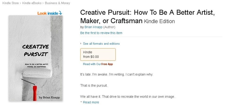 Free eBook @ Amazon Creative Pursuit How To Be A Better Artist, Maker, or Craftsman