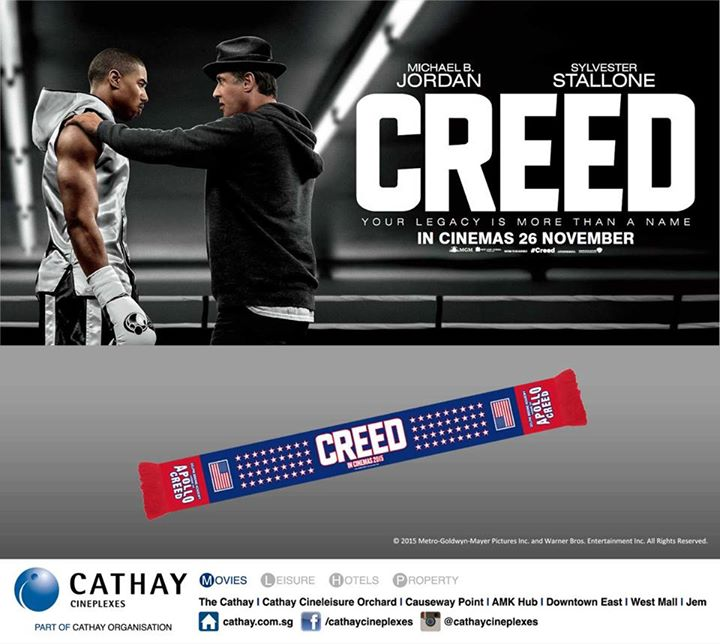 Stand a chance to win a CREED knitted stadium scarf at Cathay Cineplexes Singapore