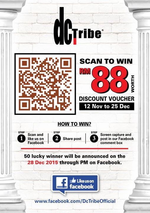 Stand a chance to win a RM88 Discount Voucher at DC Tribe Malaysia