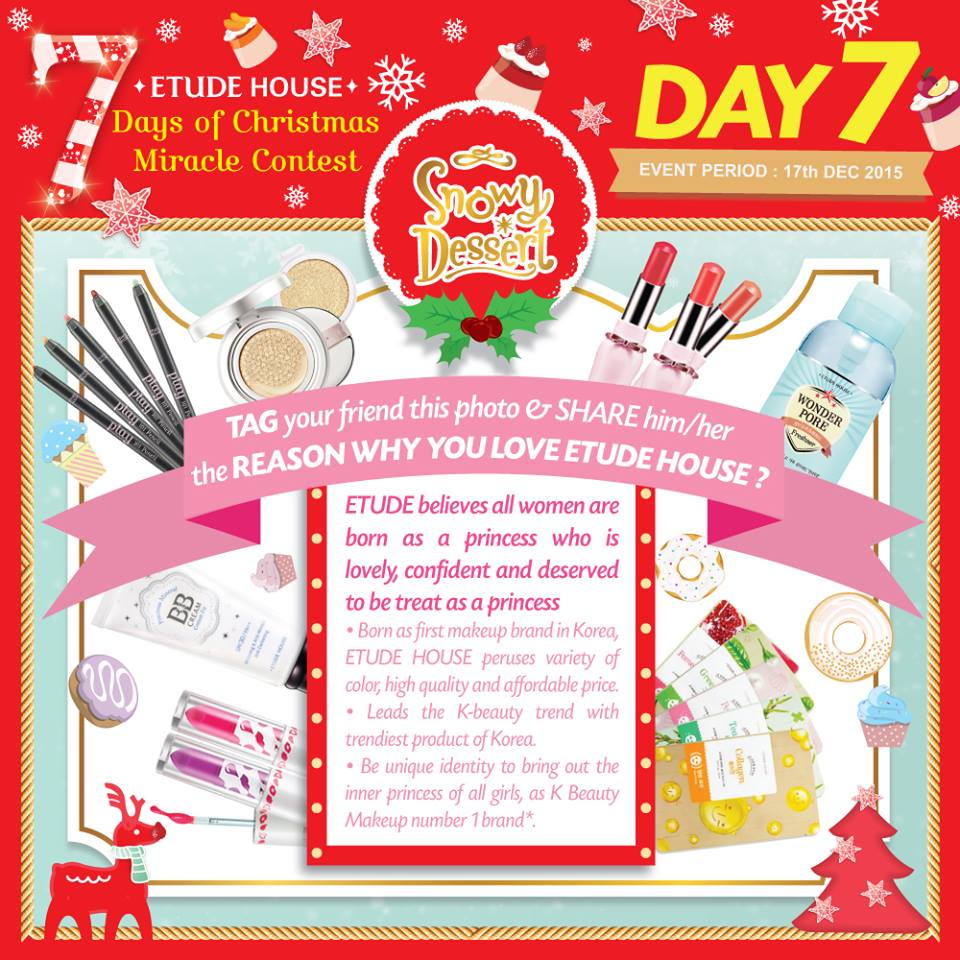 7 DAYS OF CHRISTMAS MIRACLE CONTEST – DAY 7 at MY ETUDE HOUSE
