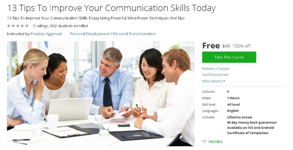 Free Udemy Course on 13 Tips To Improve Your Communication Skills Today