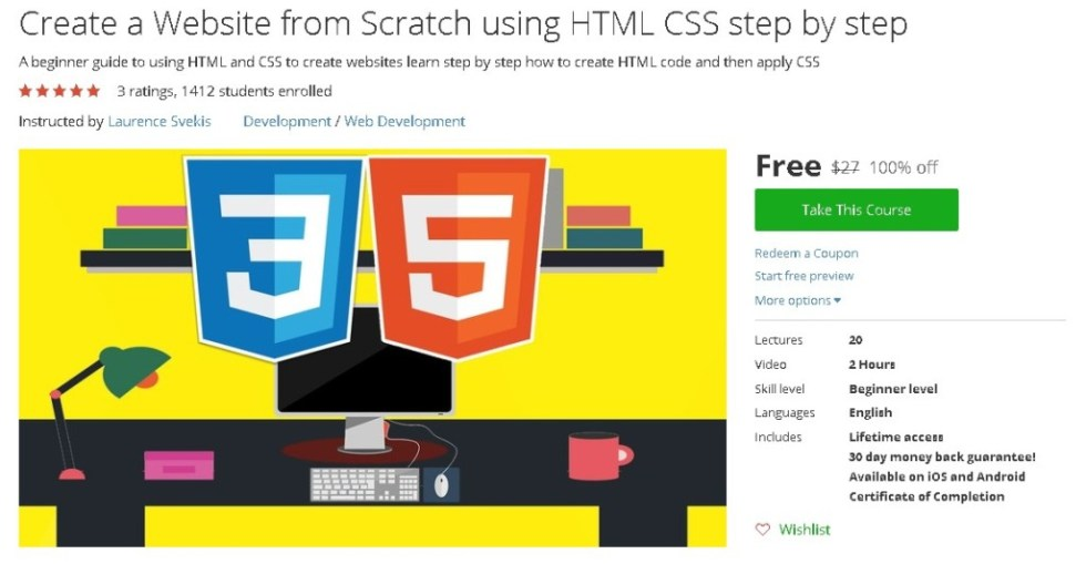 Free Udemy Course on Create a Website from Scratch using HTML CSS step by step