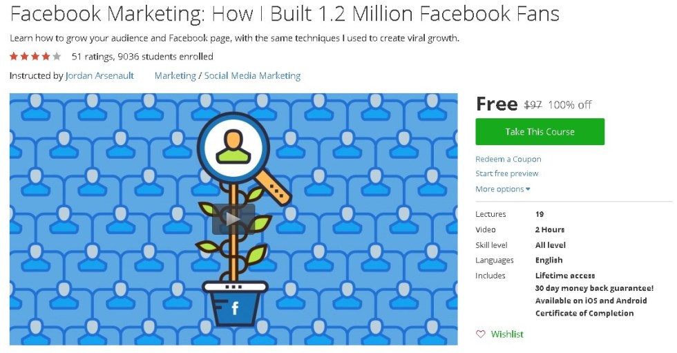 Free Udemy Course on Facebook Marketing How I Built 1.2 Million Facebook Fans