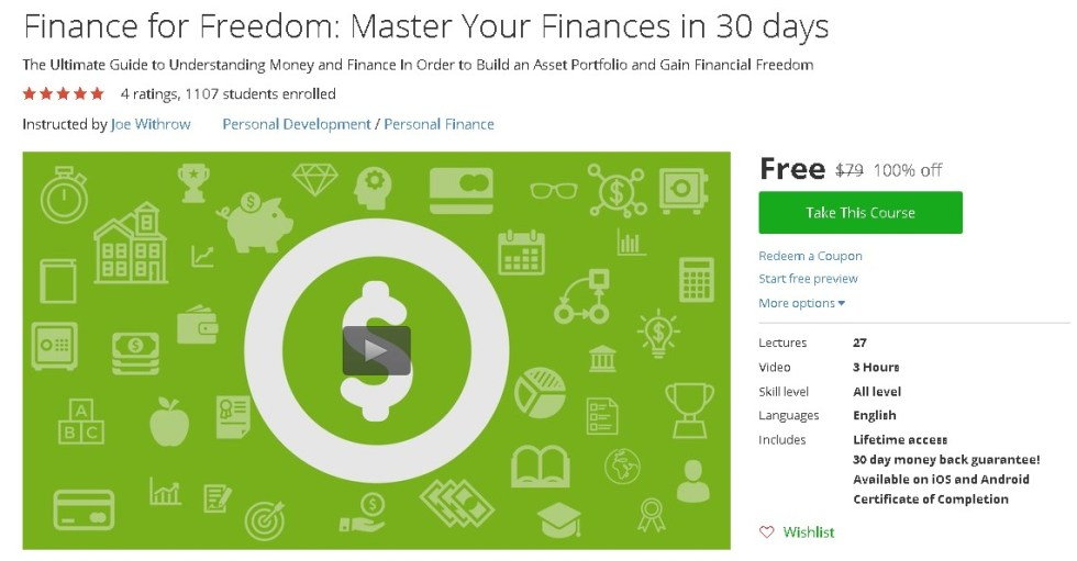 Free Udemy Course on Finance for Freedom Master Your Finances in 30 days