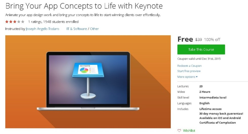 Free Udemy Course on Find out more at Bring Your App Concepts to Life with Keynote