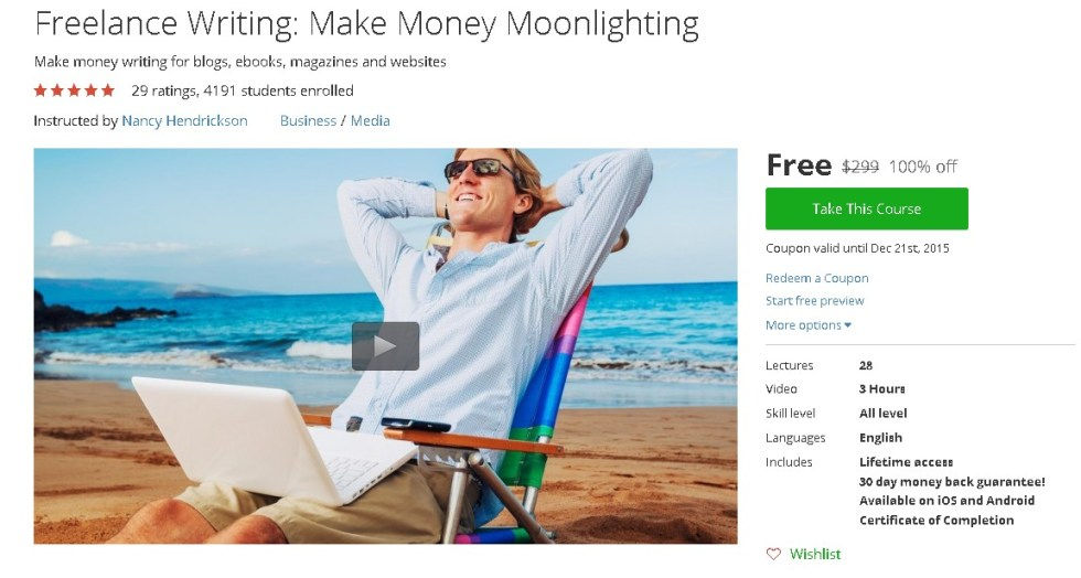 Free Udemy Course on Freelance Writing Make Money Moonlighting