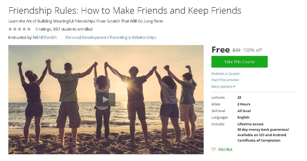 Free Udemy Course on Friendship Rules How to Make Friends and Keep Friends