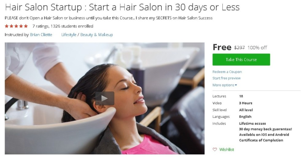 Free Udemy Course on Hair Salon Startup  Start a Hair Salon in 30 days or Less