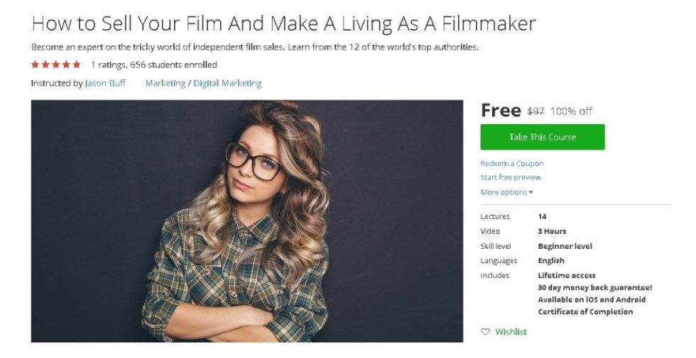 Free Udemy Course on How to Sell Your Film And Make A Living As A Filmmaker