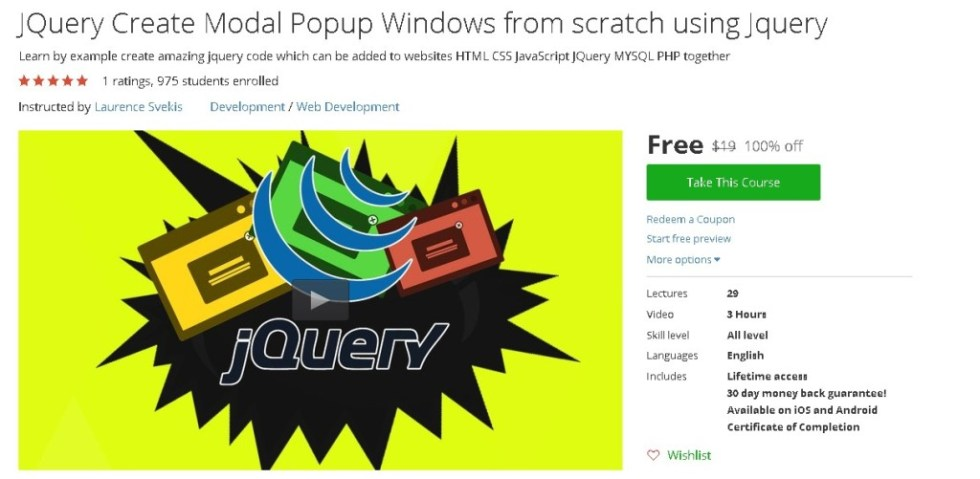 Free Udemy Course on JQuery Create Modal Popup Windows from scratch using Jquery