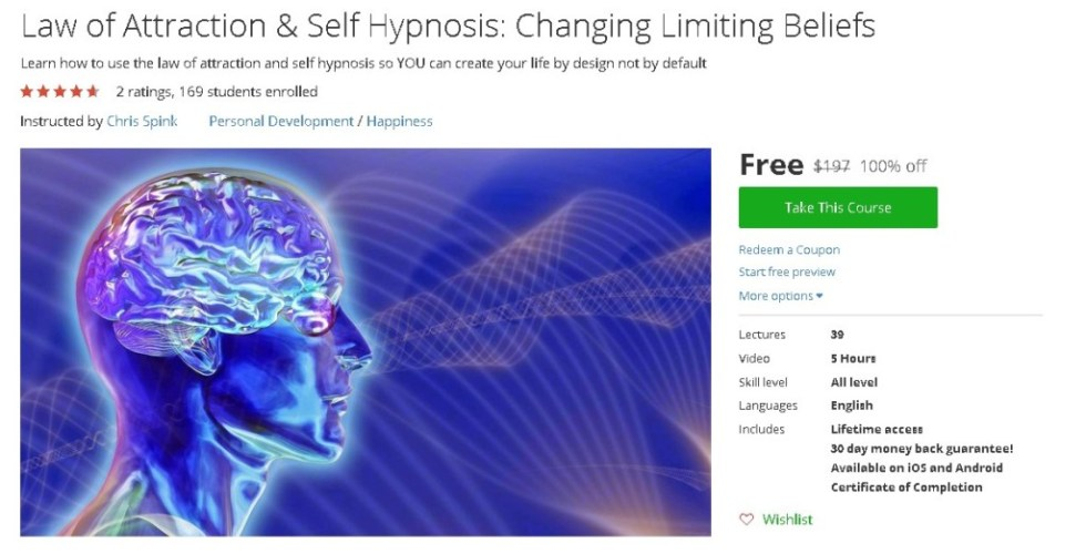 Free Udemy Course on Law of Attraction & Self Hypnosis Changing Limiting Beliefs