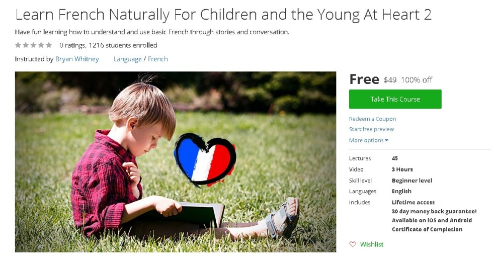 Free Udemy Course on Learn French Naturally For Children and the Young At Heart 2