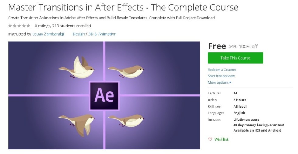 Free Udemy Course on Master Transitions in After Effects - The Complete Course
