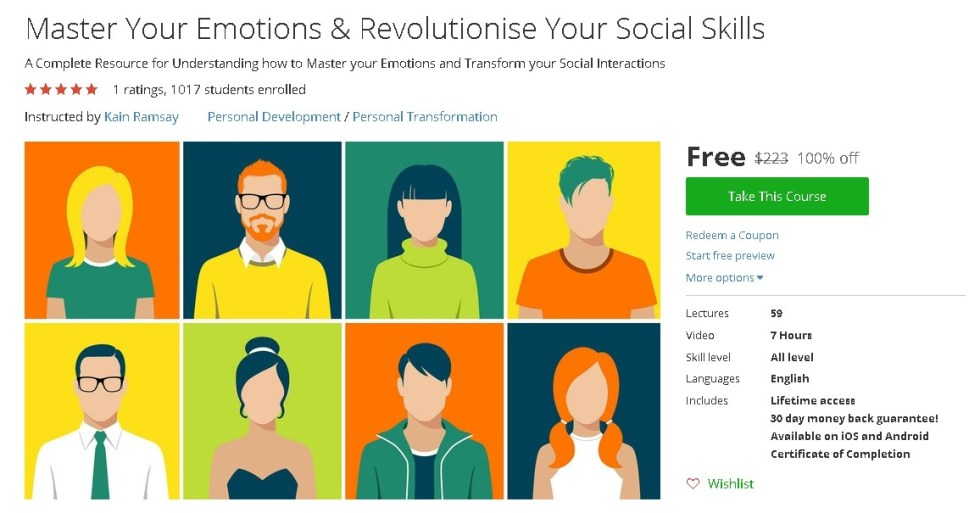Free Udemy Course on Master Your Emotions & Revolutionise Your Social Skills