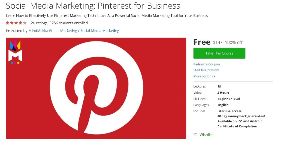 Free Udemy Course on Social Media Marketing Pinterest for Business
