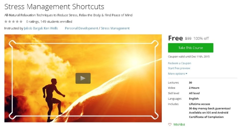 Free Udemy Course on Stress Management Shortcuts