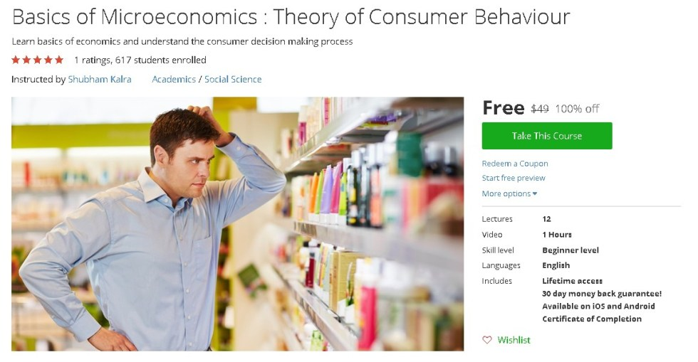 Free Udemy on Basics of Microeconomics  Theory of Consumer Behaviour