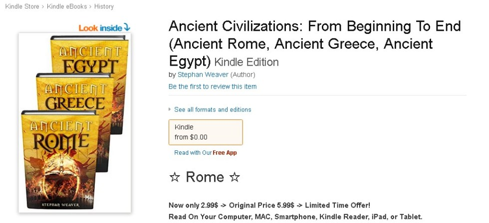 Free eBook at Amazon Ancient Civilizations From Beginning To End