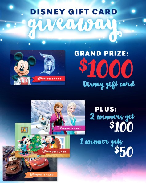 GRAND PRIZE, a $1000 Disney Gift Card