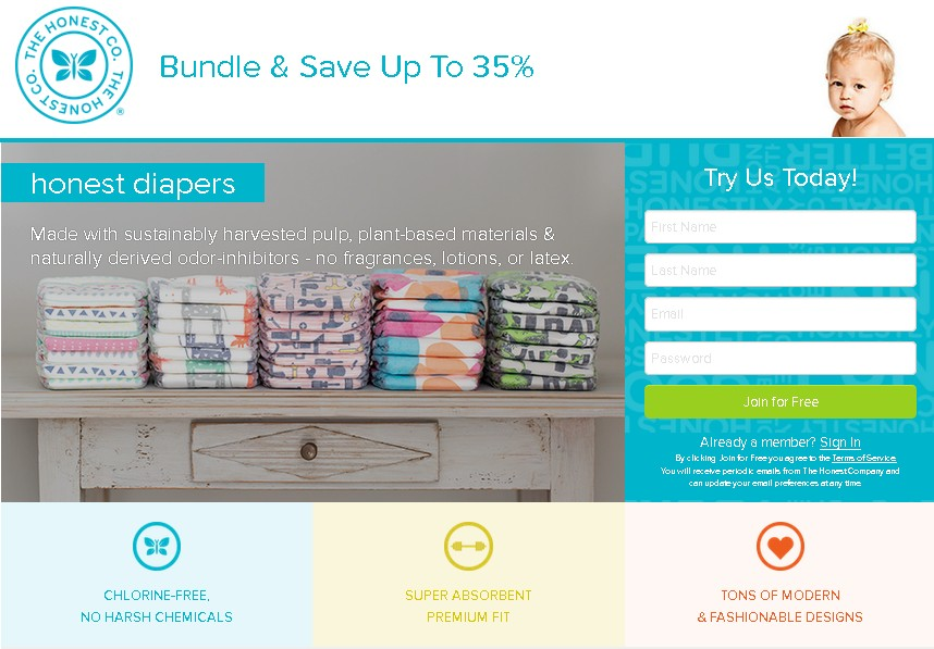 Try Honest Diapers for free