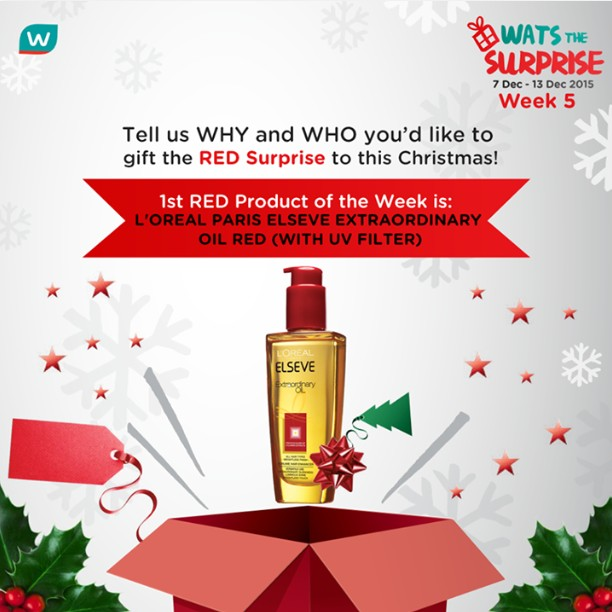 WIN L'oreal Paris Elseve Extraordinary Oil Red (with UV Filter) at Watsons Singapore