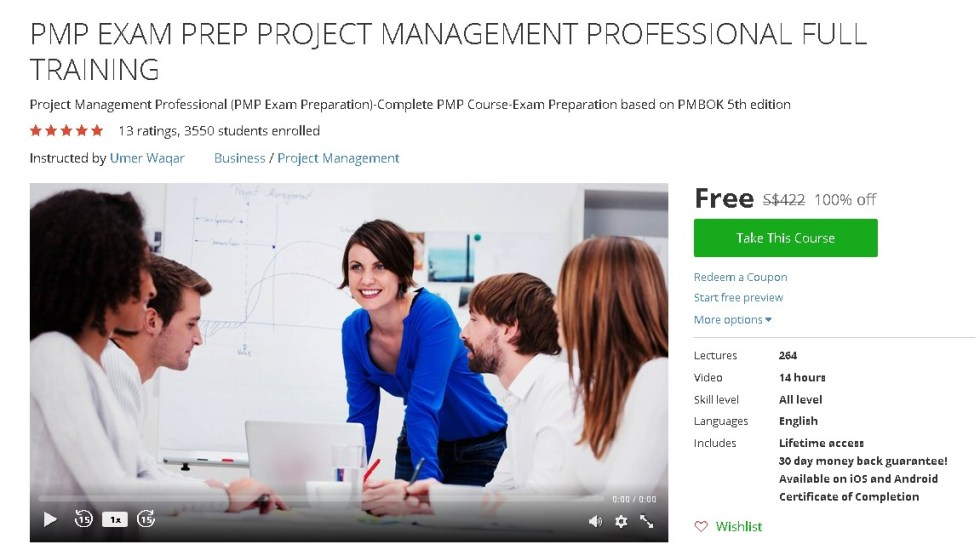 FREE Udemy Course on PMP EXAM PREP PROJECT MANAGEMENT PROFESSIONAL FULL TRAINING
