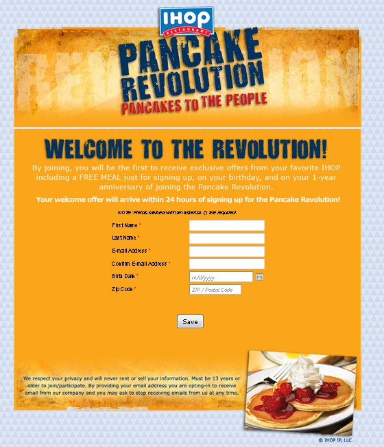 Free Meal for signing up IHOP Pancake Revolution