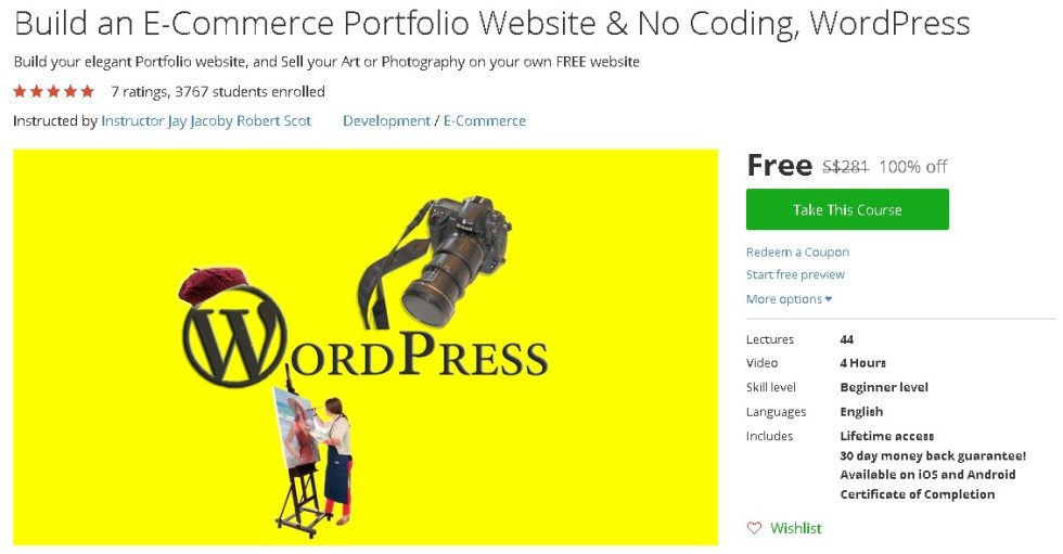Free Udemy Course on Build an E-Commerce Portfolio Website & No Coding, WordPress