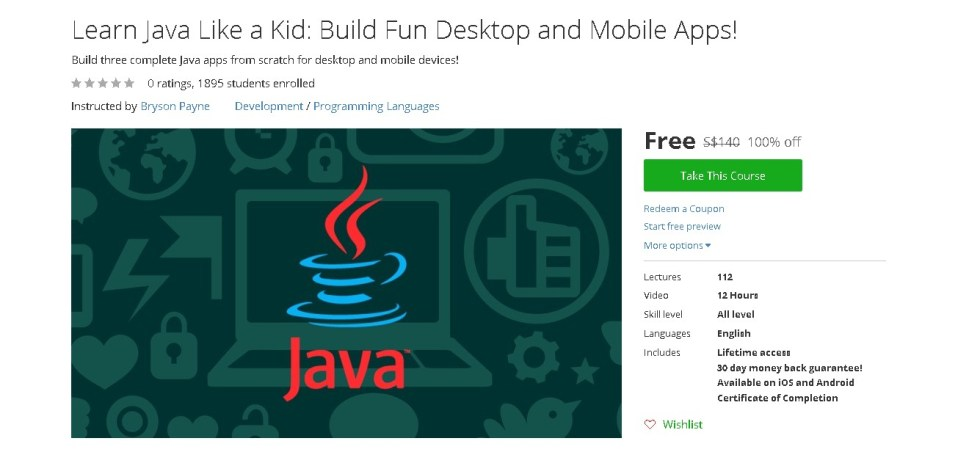 Free Udemy Course on Learn Java Like a Kid Build Fun Desktop and Mobile Apps!