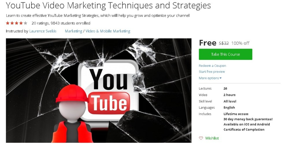 Free Udemy Course on YouTube Video Marketing Techniques and Strategies