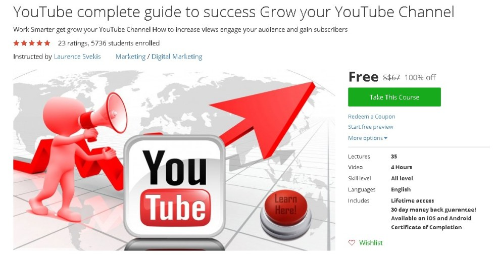Free Udemy Course on YouTube complete guide to success Grow your YouTube Channel