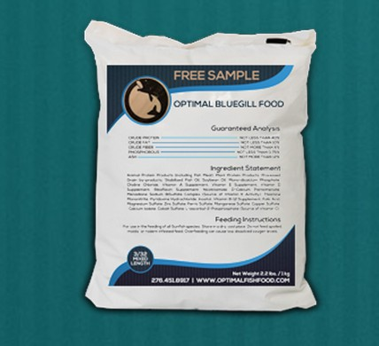 Free sample of Bluegill fish food at Optimal Fish Food