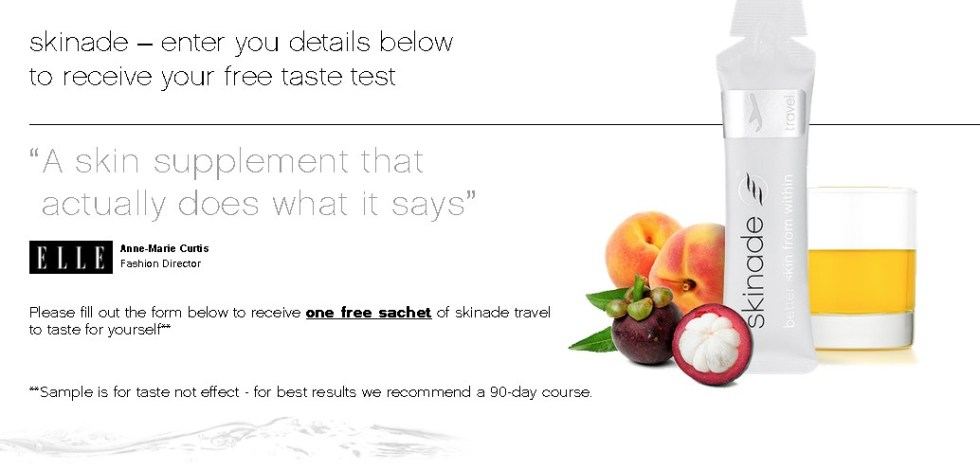Receive one free sachet of skinade travel to taste for yourself