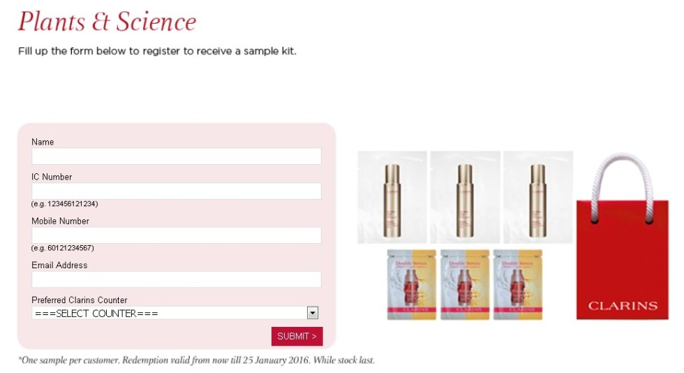 Register for a Clarins sample kit