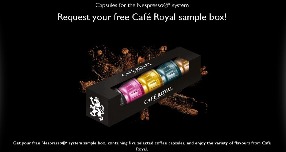 Request your free Café Royal sample box at Cafe Royal