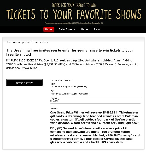 The Dreaming Tree invites you to enter for your chance to win tickets to your favorite shows!