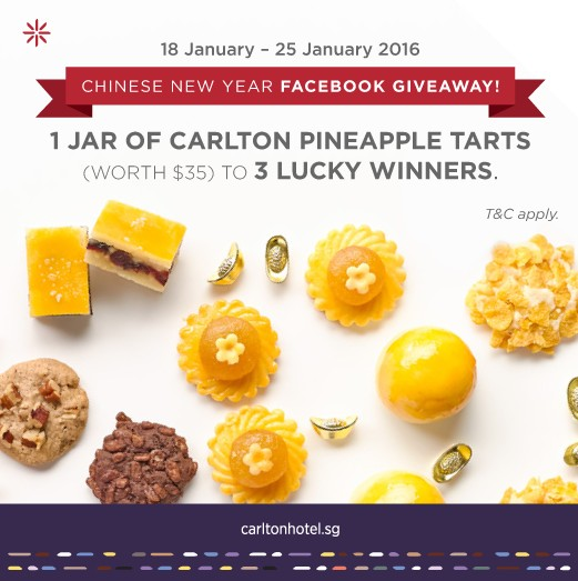 WIN 1 jar of Carlton Pineapple Tarts at Carlton Hotel Singapore