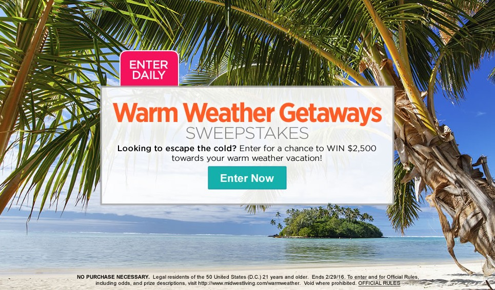 Win $2500 towards your warm weather vacation at Midwest Living