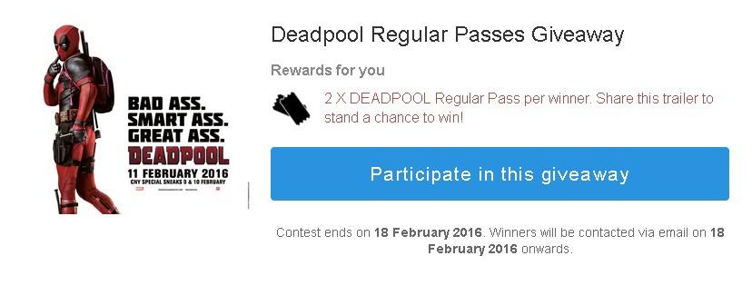 Deadpool Regular Passes Giveaway at Klips Malaysia
