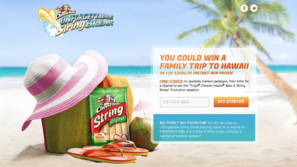 Enter for a chance to win the Frigo® Cheese Heads® Take A String Break Promotion vacation