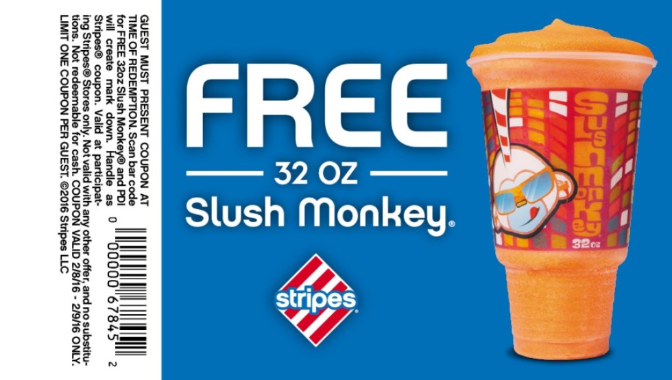 Free 32 OZ Slush Monkey at Stripes