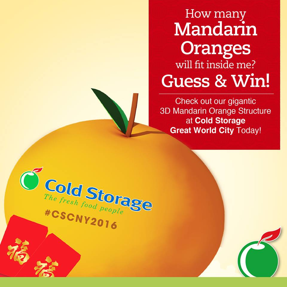 Guess how many Mandarin oranges can fit into our Gigantic 3D Mandarin Orange Structure at Cold Storage Great World City