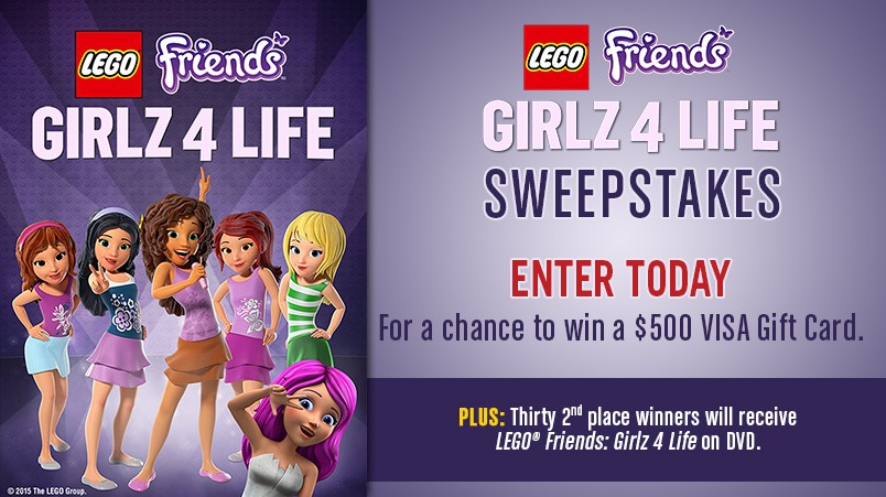 LEGO Friends Girlz 4 Life Sweepstakes Win $500 VISA Gift Card