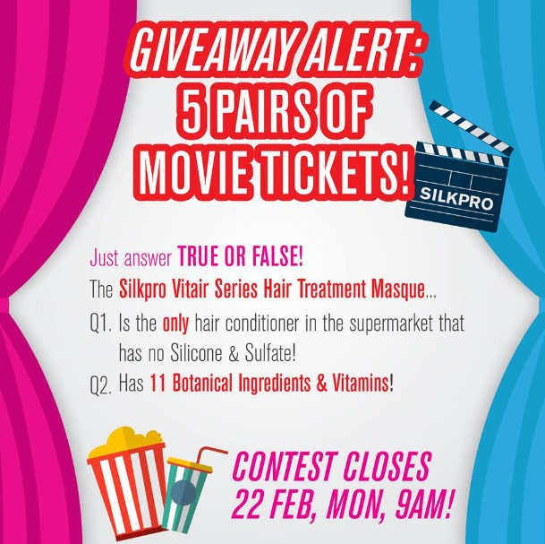 SilkproSG Giveaway Alert 5 pairs of movie tickets!