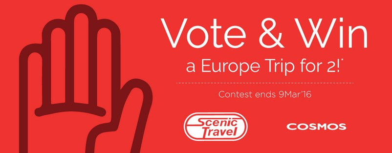 Vote & Win a Europe Trip for 2 at Scenic Travel Singapore