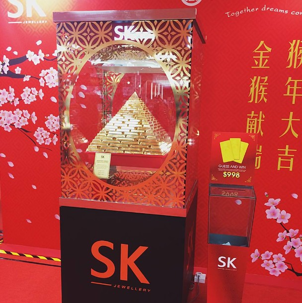 Win a piece of the 999 Pure Gold Prosperity Gold Bar Pyramid worth $998 at SK Jewellery