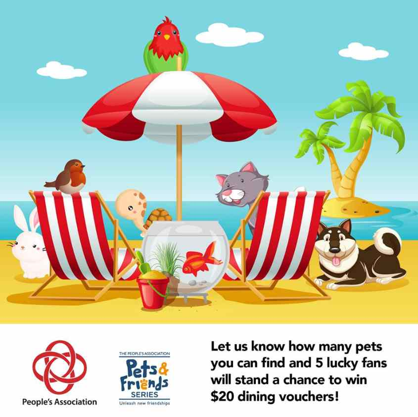 5 lucky fans will stand a chance to win $20 dining vouchers at Pets & Friends Singapore