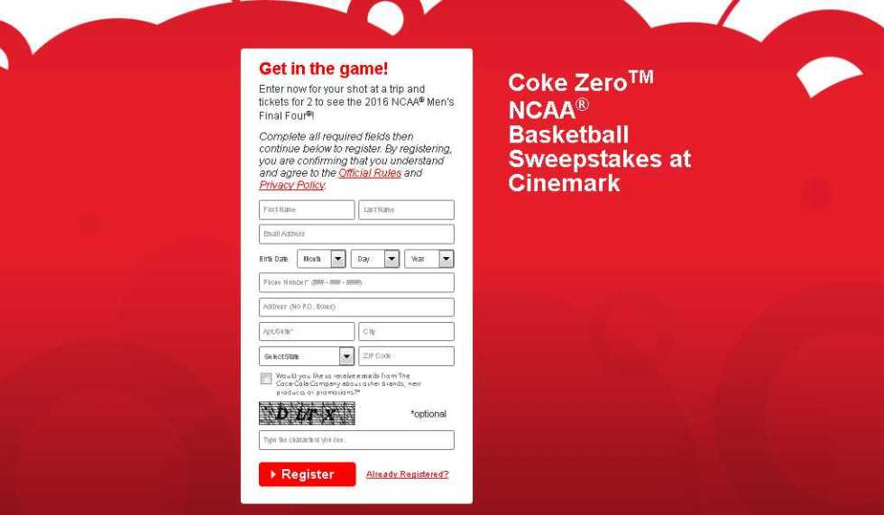 Coke ZeroTM NCAA® Basketball Sweepstakes at Cinemark