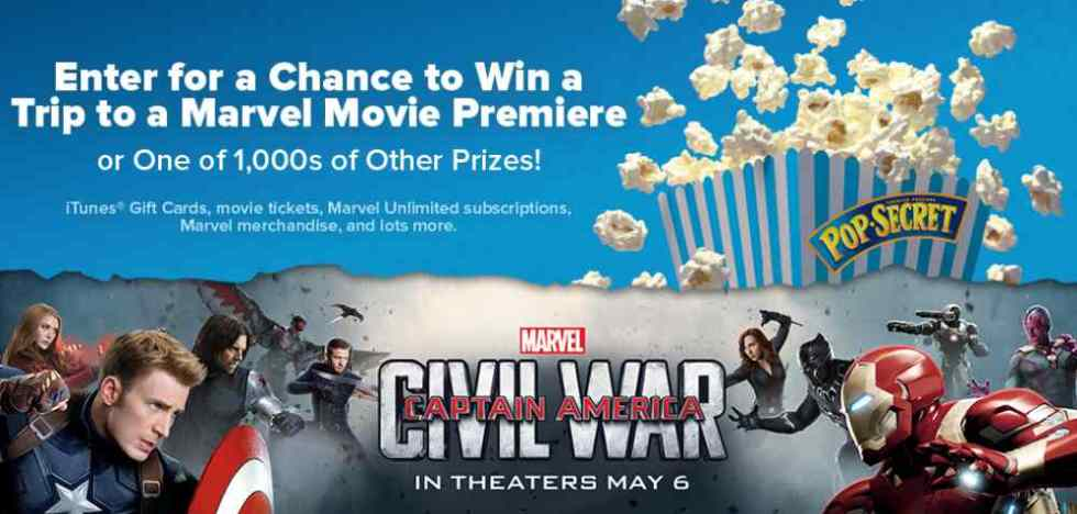 Enter for a chance to win a trip to a Marvel Movie Premiere at Pop Secret
